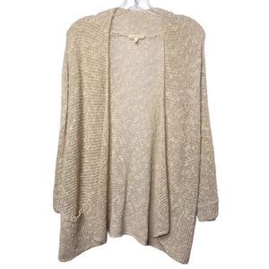 Eileen Fisher Linen Open Front Cardigan 3/4 Sleeve